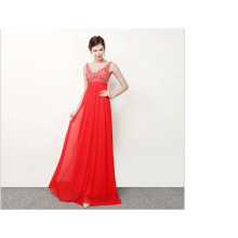 Red collar V evening dress long elegant evening banquet to wear costumes over toast