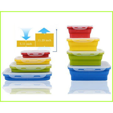 Colorful Reusable Silicone Lunch Bento Box