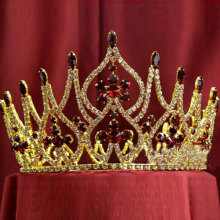 Red Rhinestone Gold Plated Beauty Queen Full Round Crown