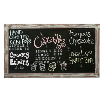 35-Inch Wall-Mounted Chalkboard, Vertical  Horizontal Hanging Torched Wood Frame Message Board