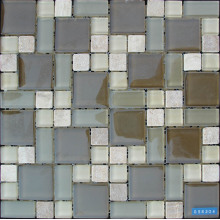 Brown Glass Mixed Stone Mosaic Tile