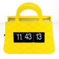 Yellow clock handbag flip clock
