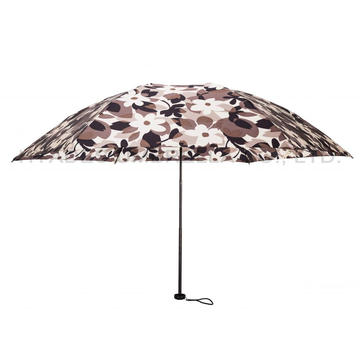 Quick Open Women's Printed 3 Folding Umbrella