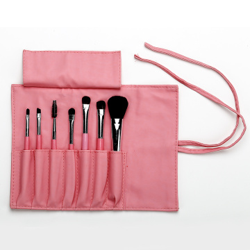 Pink PU bag with 7 make up brushes