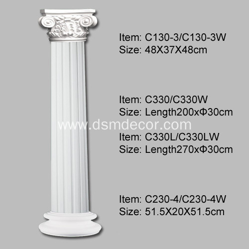 Polyurethane Columns in Architecture for inside