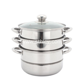 3-layer Stainless High Steamer With Glass Cover