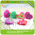 Heart shape extruded eraser flat product stationery