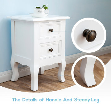 Modern Paulownian Wood MDF adjustable Bedside Table Pair of Wood Chic Bedside Table 2-Drawers Cabinet Nightstand - White