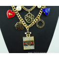 Multi Layer Chain Link Necklace Crystal Pendant Necklace