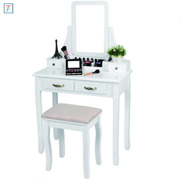 White Bedroom Mirrored Dresser Wooden Dressing Table with Mirror and Stool