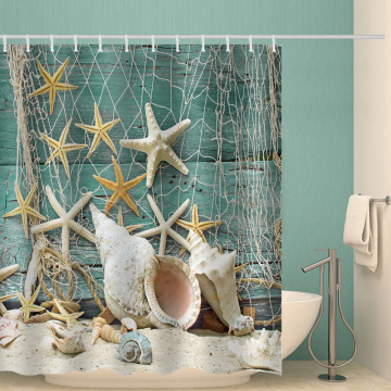 Starfish Fishing Net Waterproof Shower Curtain Ocean Animal Bathroom Decor