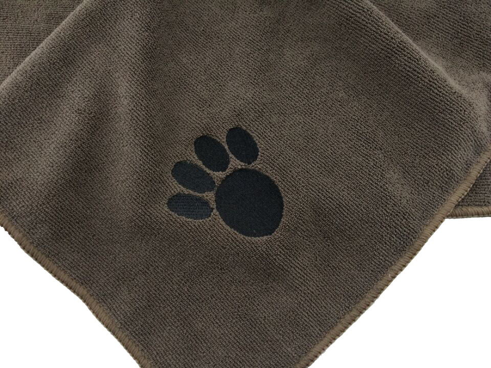 Microfiber Dog Cat Paw Embroidery Towel