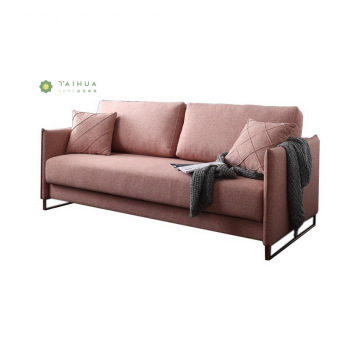 Modern Pink 2 Seater Sofa na may Metal Frame