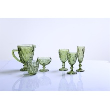 Hand Pressed Green Solid Color Water Glass Cup Set of 6 Goblet Glass