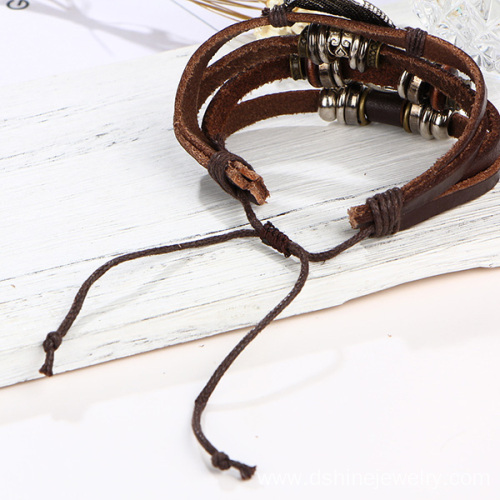 Factory Supply Custom Design Wrap Leather Charm Bracelets