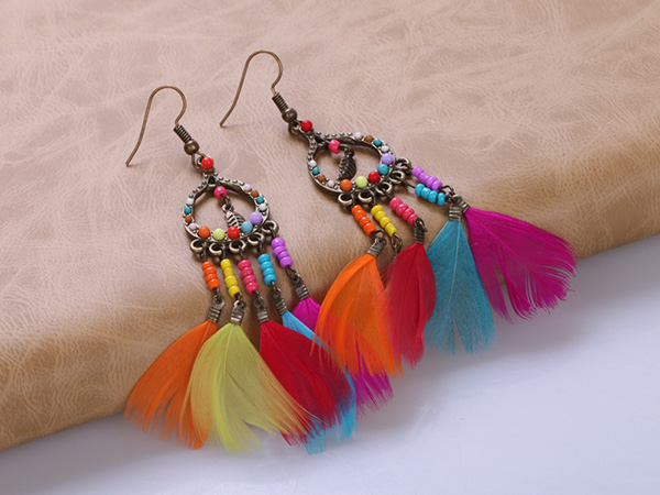 Multicolors Feather Girls Earrings