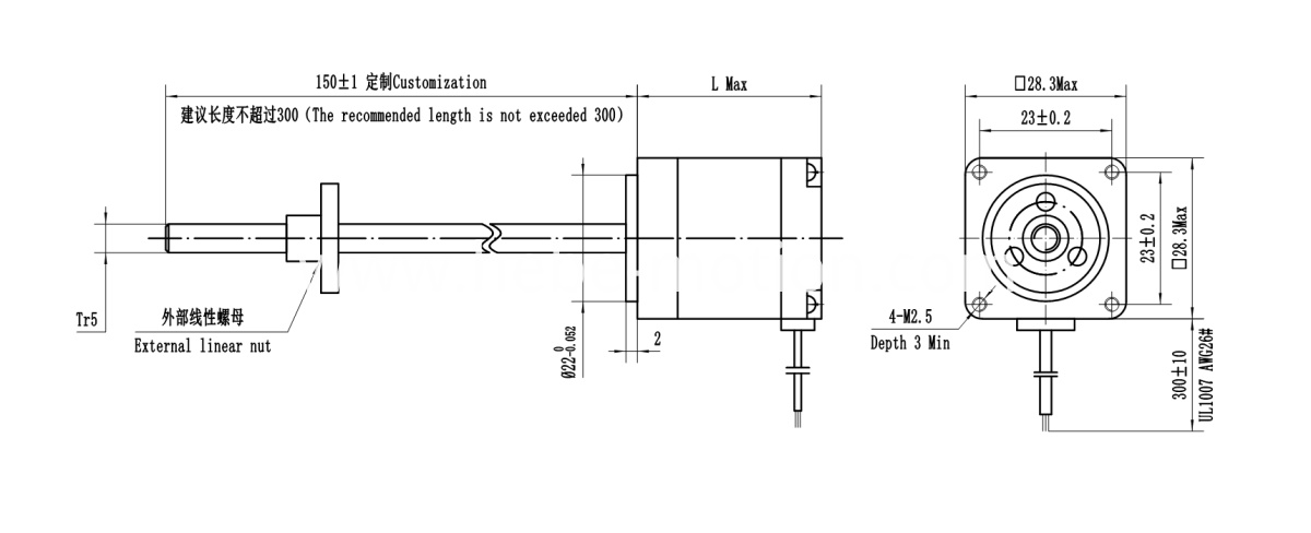 drawing of linear stepper motor