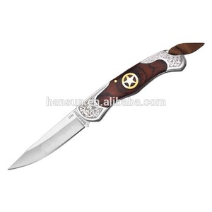 China Gold Supplier for for High Quality wooden handle pocket knife Brown Pakka Wood Brass Insert Etching Pocket Knife supply to Poland Factories