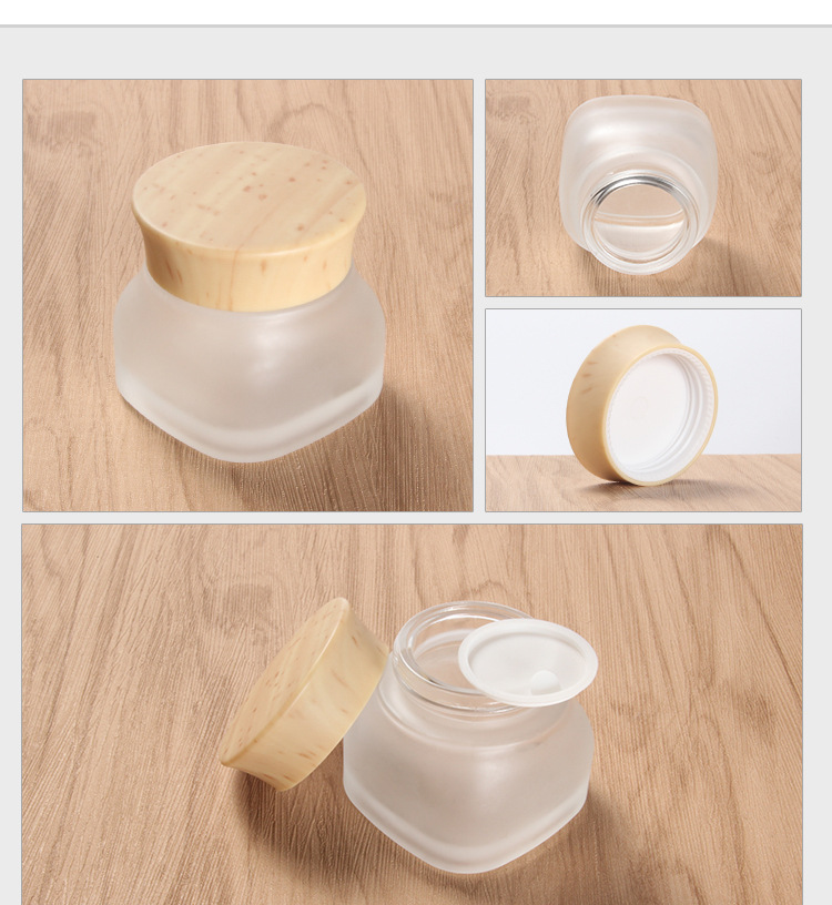 Spot cosmetics glass bottle lotion spray bottle color spray bottle inside the cork bottle wood process can be printed (3)