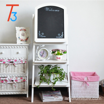 wooden plate racks blackboard with flower display shelf