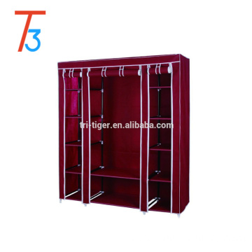 3 door folding cloth wardrobe with sliding door cover