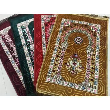Raschel flush printed embossed prayer rug