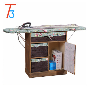 ironing board table wood cabinet with storage basket drawer