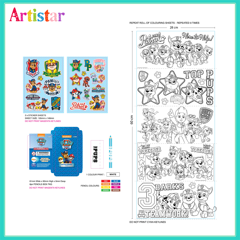 Paw Patrol Colouring Attractive Table 2