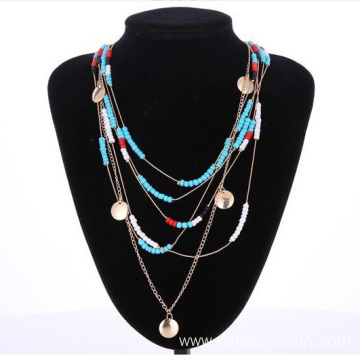 Measle Bead Multi Strand Necklace Womens Chain Necklace