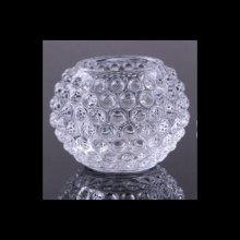 Glass Diamond Round Tealight Holder