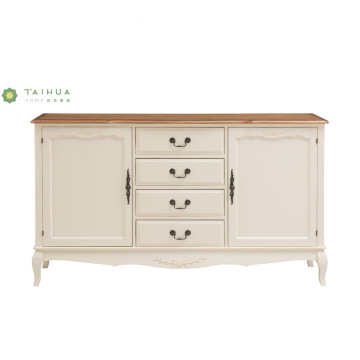 Ivory White Solid Wood 4 Drawers Chest