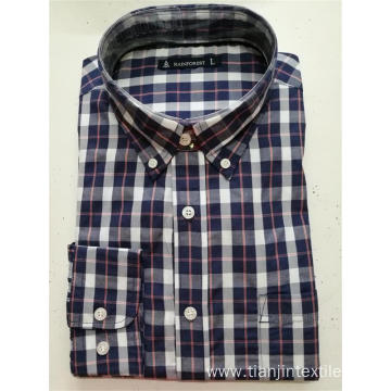 T/C men's yarn dye short sleeve basic shirt