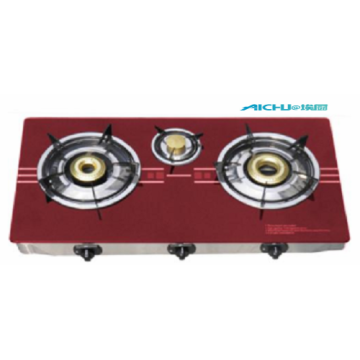 Red Glass Top Gas Stove 3 Burners