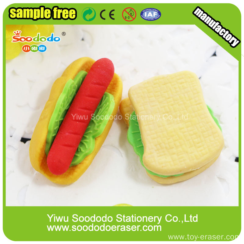 Mini Cute Sandwich Shaped Erasers Toy Rubber