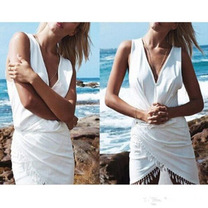 Casual Summer Edge Tassel V Necklace Dress