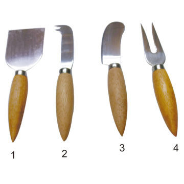 4 Pcs Cheese Tool Set with wooden Handle