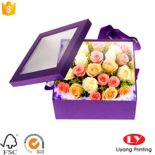 Paper packaging box for flower box with window
