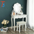 Dressing Table Set with Stool and Heart shape Mirror Vanity Furniture bedroom White