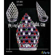 Special for Gold Pageant Crowns Mix Color Hot Big Full Round Crowns supply to Cyprus Factory