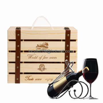 Pine Wood Wooden Wine Storage Gift Box Packaging Box for Four Loaded Bottles
