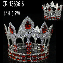 Rhinestone Red Crystal Full Round Pageant Crowns Queen