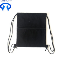 Custom solid-colored drawstring pocket backpack