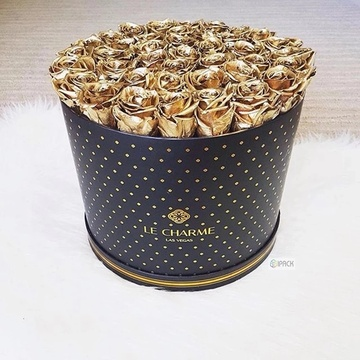 Luxury Black Cardboard Round Flower Box