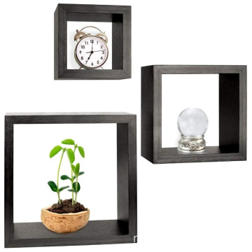 Decorative Espresso Finish wall Set of 3 Floating Cube Shelves