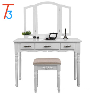 Stylish and simple dressing table with 3 large mirrors and drawers