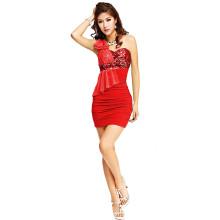 New products hot style sexy exotic and exotic one-shouldered sequined one-shoulder club dress KTV uniform