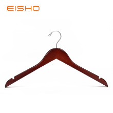 China Gold Supplier for for Wood Clothes Hangers EISHO Walnut WoodenTop Hangers With Notches supply to United States Factories