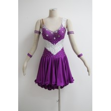 factory customized for Latin Dress Patterns Purple latin dance dress supply to Honduras Importers