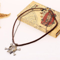 Handmade Leather Mens Pendant Necklace With Rhinestone Skull