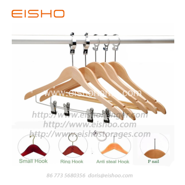 EISHO Anti Theft Wood Hanger With Clips
